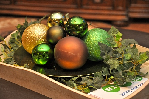Christmas decorating with ornaments