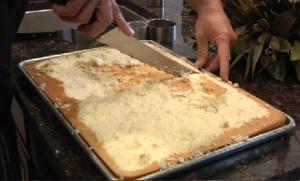 cutting cake in half