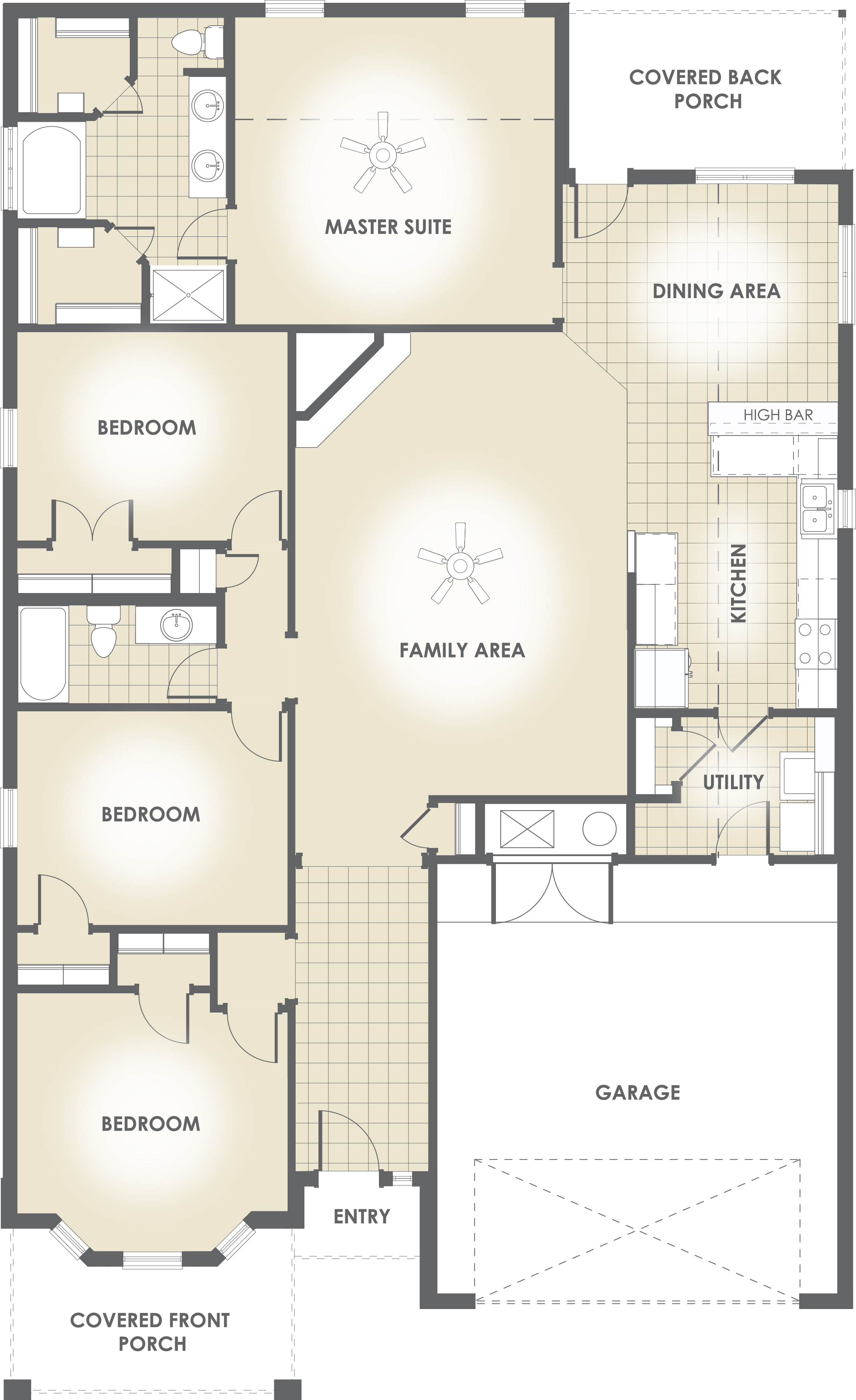 2013 s five most popular floor plans house made home for Bathroom 9 foot ceiling