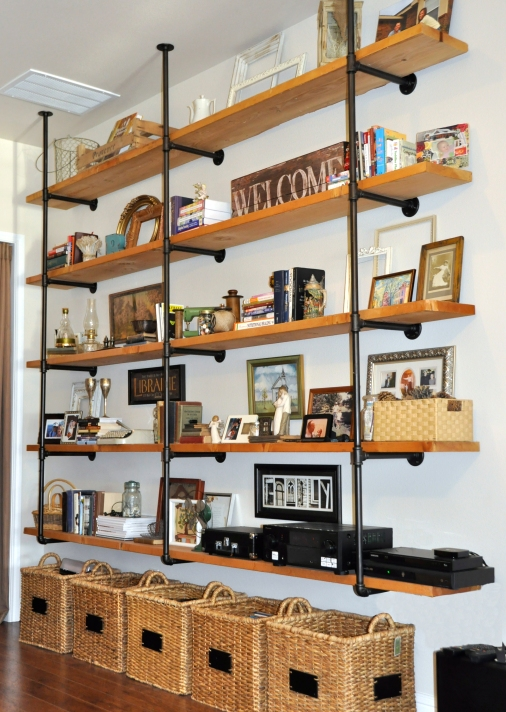 wood and iron pipe industrial shelves