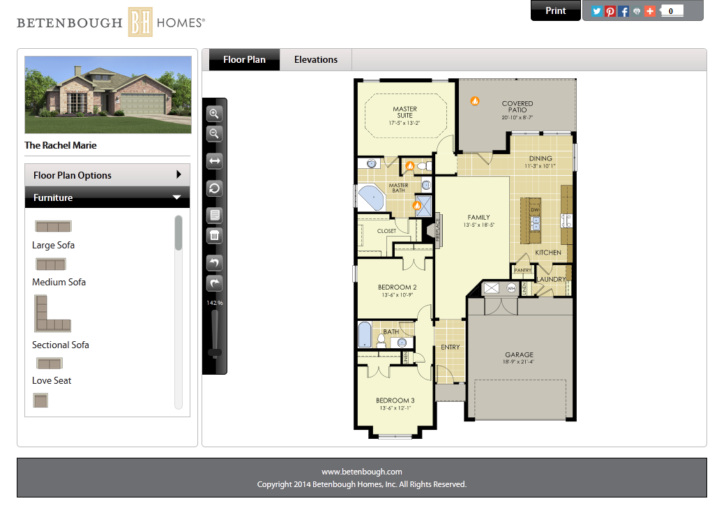 Betenbough homes launches new website house made home for Interactive floor plans