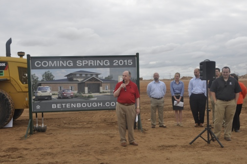Ron Betenbough addresses the crowd at the groundbreaking.