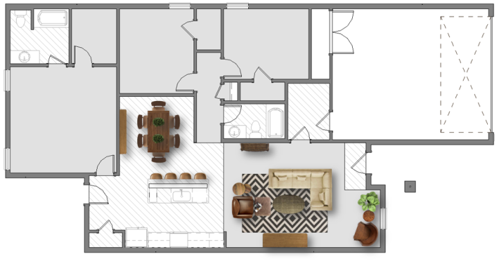 Living room furniture layout 1 500 sq ft plans house for Laying out living room furniture